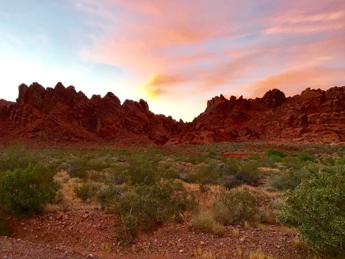 Sunset and red rock at Valley of Fire