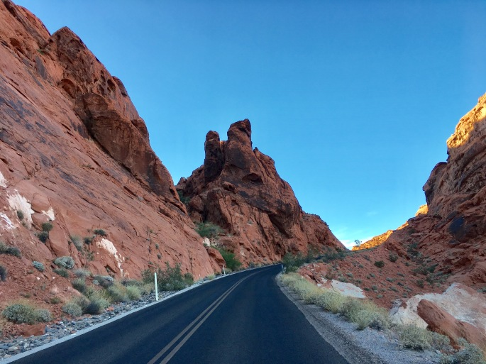 Red rock and road in Valley of Fire at dusk