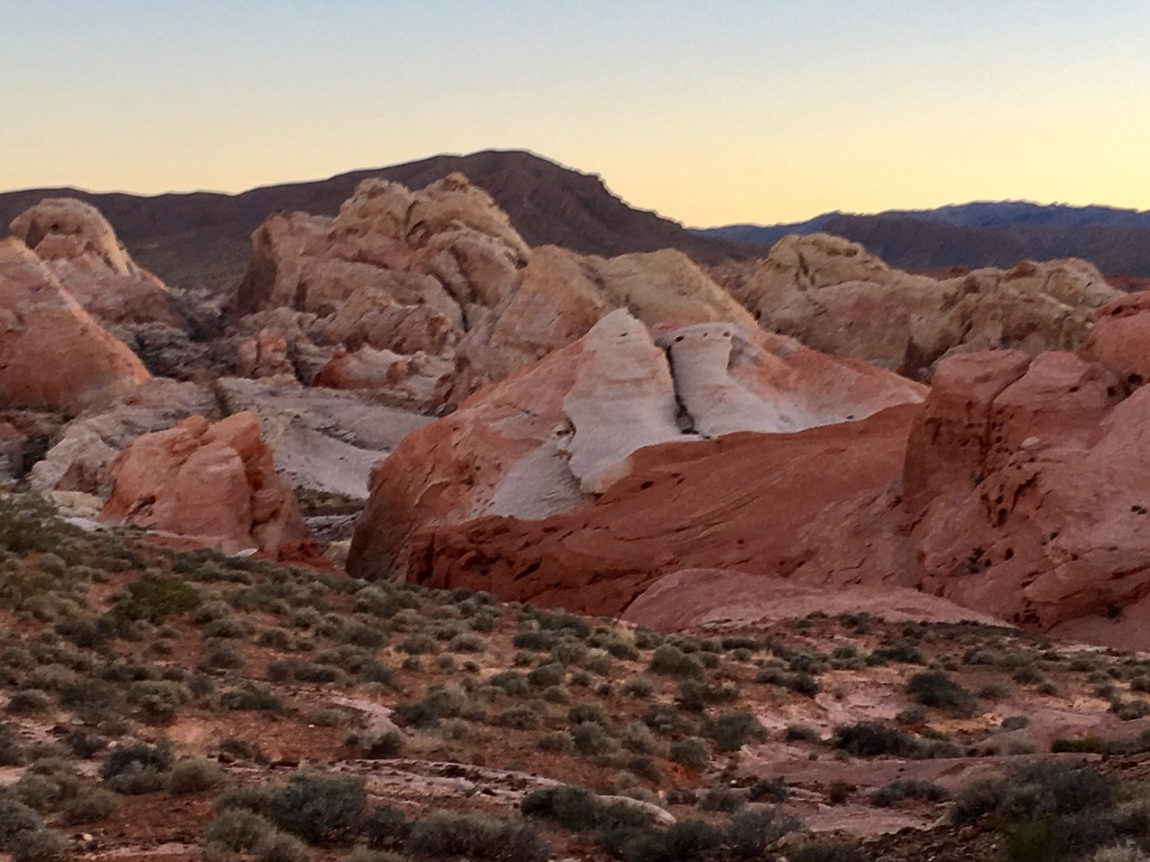 Red and white rock formations in Valley of Fire