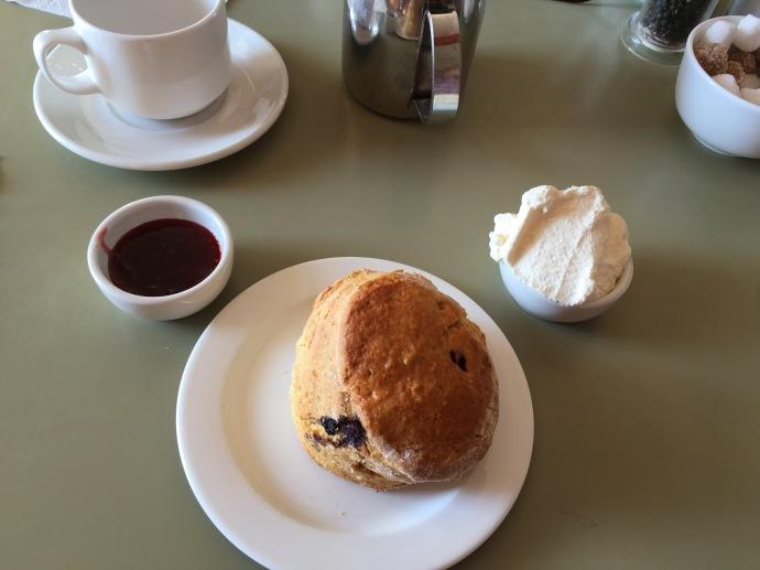 Irish scone with cream and jam